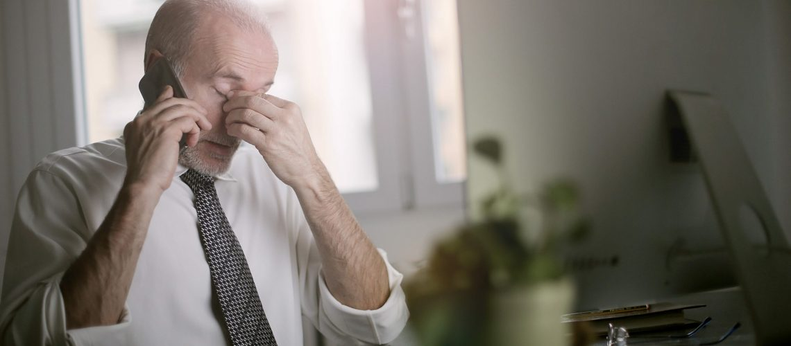 Listening fatigue for man on phone